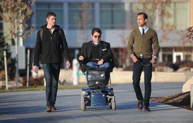 Trevor Morrill, Cesar Ibanez and Trevor Rubio make their way across the BYU-Idaho campus | Photo Courtesy of the Idaho Statesman