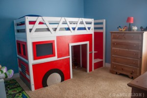 Yep, He Really Did It: The Fire Truck Loft Bed