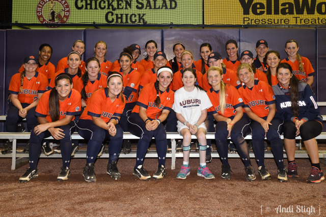 Fan photos with the team. Arkansas vs Auburn Softball on Saturday, April 25, 2015 in Auburn, Ala.  Anthony Hall/Auburn Athletics